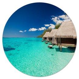 """Коврик для мышки (круглый) """"Мальдивы"""" - море, природа, пейзаж, пальмы, мальдивы"""