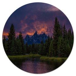 """Коврик для мышки (круглый) """"Горы и лес"""" - пейзаж, природа, деревья, горы, елки"""