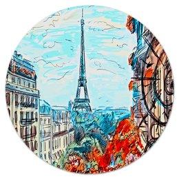 """Коврик для мышки (круглый) """"Париж"""" - город, краски, природа, париж, эйфелева башня"""