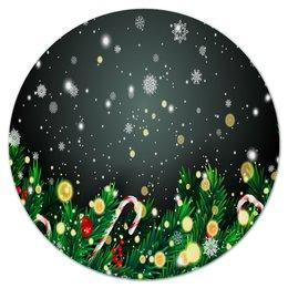 """Коврик для мышки (круглый) """"Падающий снег"""" - новый год, игрушки, подарки, снежинки, елка"""
