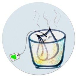 """Коврик для мышки (круглый) """"Время пить чай"""" - чай, релакс, блаженство, время чая, чайный пакетик"""