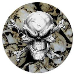 """Коврик для мышки (круглый) """"Череп"""" - череп, пираты, кости, смерть, мистика"""