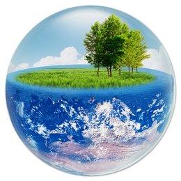 """Коврик для мышки (круглый) """"Океан"""" - море, земля, природа, шар, глобус"""