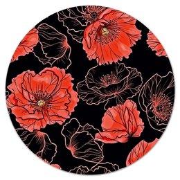 """Коврик для мышки (круглый) """"Цветы"""" - цветы, маки, весна, узор, природа"""