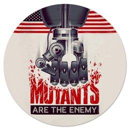 "Коврик для мышки (круглый) ""Мутанты"" - надпись, рука, робот, флаг, железо"