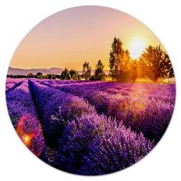 """Коврик для мышки (круглый) """"Поле цветов"""" - цветы, закат, природа, пейзаж, поле"""