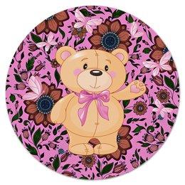 """Коврик для мышки (круглый) """"Мишка и бабочки"""" - бабочки, цветы, медведь, мишка"""
