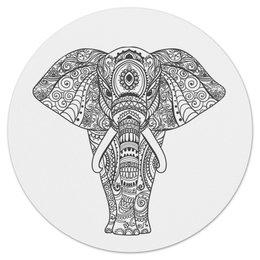 """Коврик для мышки (круглый) """"Индия"""" - слон, животные, индия, роспись, узор"""