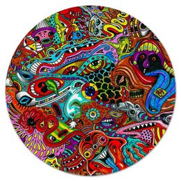 """Коврик для мышки (круглый) """"Психоделия"""" - психоделия, психоделика"""