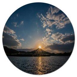 """Коврик для мышки (круглый) """"Закат """" - солнце, море, природа, закат, горы"""