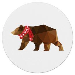 """Коврик для мышки (круглый) """"Медведь"""" - новый год, животные, зима, медведь, медвежонок"""
