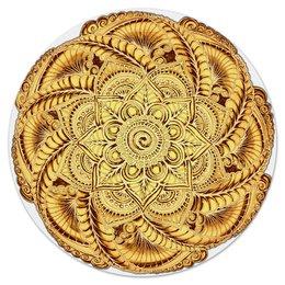 """Коврик для мышки (круглый) """"Золотой цветок мандала"""" - цветы, узор, подарок, мандала, мехенди"""