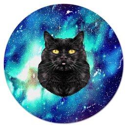 """Коврик для мышки (круглый) """"кот в космосе"""" - кот, звезды, котенок, космос, коты в космосе"""