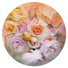 """Коврик для мышки (круглый) """"Пионы"""" - бабочки, цветы, пионы, розы, букет"""