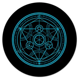 """Коврик для мышки (круглый) """"Стальной алхимик. Круг трансмутации"""" - аниме, манга, стальной алхимик, fullmetal alchemist, круг трансмутации"""
