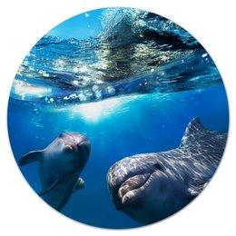 """Коврик для мышки (круглый) """"Дельфины"""" - дельфины, море, животные, вода, подводный мир"""