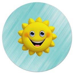 """Коврик для мышки (круглый) """"Без названия"""" - солнце, солнышко, улыбка, небо, природа"""