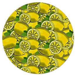 """Коврик для мышки (круглый) """"Лимоны"""" - лето, еда, фрукты, ягоды, лимоны"""