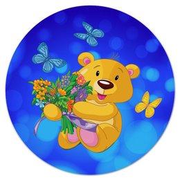 """Коврик для мышки (круглый) """"Мишка и букет"""" - бабочки, цветы, медведь, мишка, игрушки"""