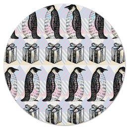 """Коврик для мышки (круглый) """"пингвины"""" - новый год, пингвины, зима, птицы, подарки"""