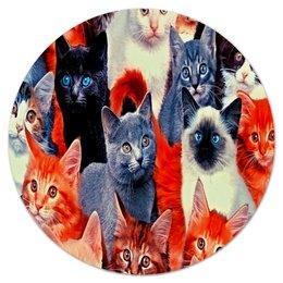 """Коврик для мышки (круглый) """"Кошечки"""" - животные, кошки, коты, котята, кошечки"""