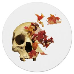 """Коврик для мышки (круглый) """"Осенний череп"""" - череп, скелет, осень"""