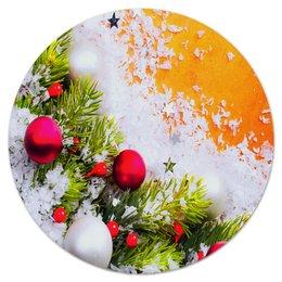 """Коврик для мышки (круглый) """"Игрушки на елке"""" - праздник, новый год, снег, игрушки, елка"""