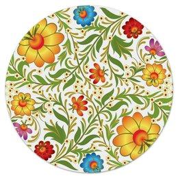 """Коврик для мышки (круглый) """"Цветочный узор"""" - цветы, узор, листья, хохлома, роспись"""