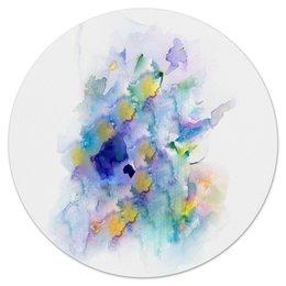 """Коврик для мышки (круглый) """"акварельная палитра"""" - мазки, летний, голубые, акварельные, кистью"""