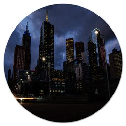 """Коврик для мышки (круглый) """"Город"""" - город, мегаполис, здания, вечер, огни"""