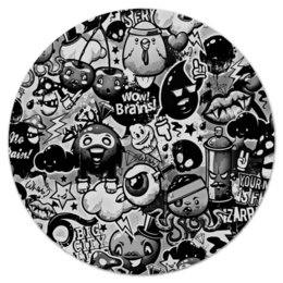 """Коврик для мышки (круглый) """"Мульт черно-белый"""" - комиксы, мульт, angry birds, черно-белые, энгри бердз"""