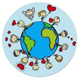 "Коврик для мышки (круглый) ""Планета"" - сердце, планета, земля, люди, шар"