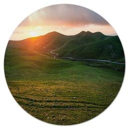 """Коврик для мышки (круглый) """"Река в горах"""" - горы, пейзаж, природа, река, трава"""