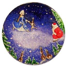 """Коврик для мышки (круглый) """"Новый год: Дед Мороз и Снегурочка """" - новый год, зима, заяц, new year, дед мороз, снегурочка, ёлки"""