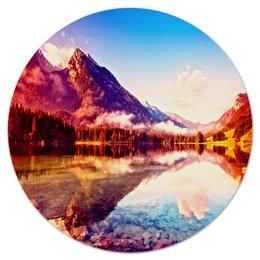 """Коврик для мышки (круглый) """"Природа"""" - природа, горы, вода, пейзаж, краски"""