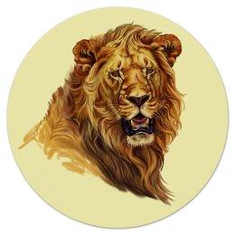 """Коврик для мышки (круглый) """"могучий Лев"""" - лев, портрет, авторский, дизайнерский"""