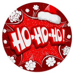 """Коврик для мышки (круглый) """"Ho Ho Ho"""" - рождество, новый год, зима, красный, санта"""
