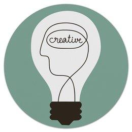 """Коврик для мышки (круглый) """"Creative"""" - идея, надписи, креатив, creative, лампочка"""