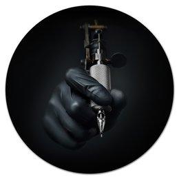 """Коврик для мышки (круглый) """"Мастер татуировок."""" - арт, инструмент, татуировка, наколка, салон"""