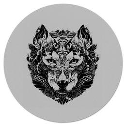 """Коврик для мышки (круглый) """"Волк Стилизация 2"""" - волк, wolf, волчица"""