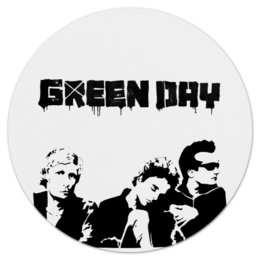 "Коврик для мышки (круглый) ""green day "" - black and white, rock, green day, alternative rock"