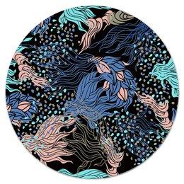"""Коврик для мышки (круглый) """"Узор листьев"""" - цветы, узор, листья, природа, листва"""