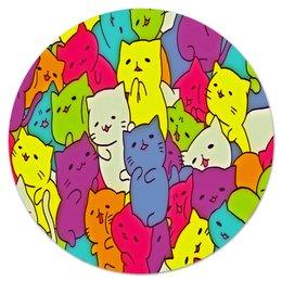 """Коврик для мышки (круглый) """"Котята"""" - животные, кошки, коты, цветные, котята"""