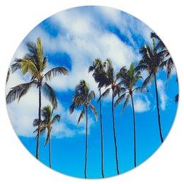 """Коврик для мышки (круглый) """"Пальмы"""" - майами, пальмы, лето, пляж, деревья"""