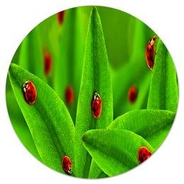 """Коврик для мышки (круглый) """"Божьи коровки"""" - листья, природа, трава, насекомые, божья коровка"""