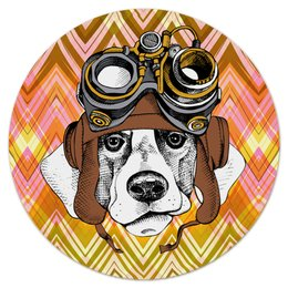 """Коврик для мышки (круглый) """"Пес летчик"""" - животные, пес, щенок, собака, летчик"""