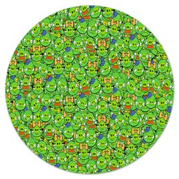 "Коврик для мышки (круглый) ""Angry Birds"" - зеленый, свиньи, мульт, angry birds, энгри бёрдз"