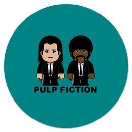 """Коврик для мышки (круглый) """"Pulp Fiction"""" - тарантино, криминальное чтиво, джон траволта, сэмюэл лерой джексон, культовое кино"""