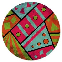 """Коврик для мышки (круглый) """"Яркая геометрия"""" - полосы, круги, геометрия, треугольники"""