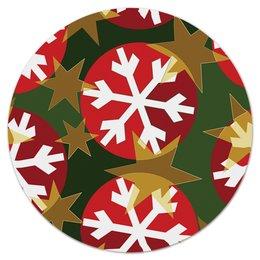"""Коврик для мышки (круглый) """"Новогодние шары"""" - новый год, узор, звезды, игрушки, снежинки"""